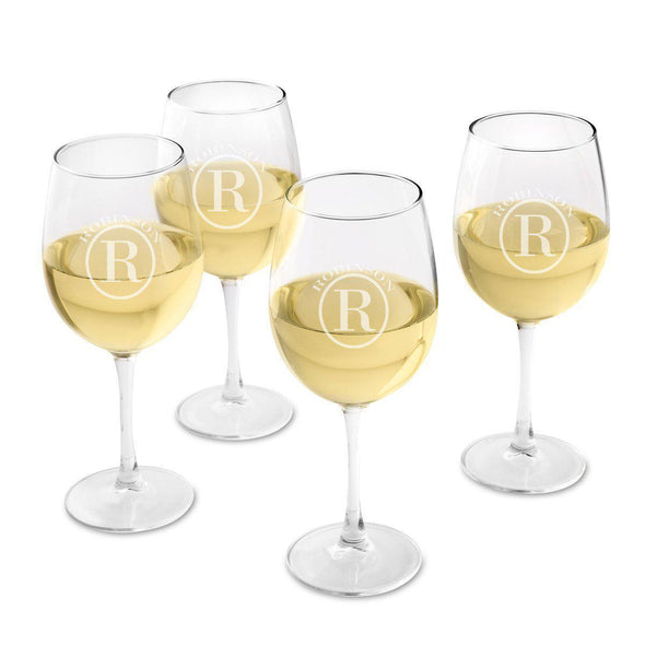 Personalized Set of 4  Wine Glasses - White Wine - Circle - JDS