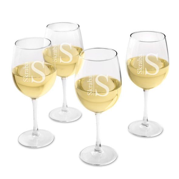 Personalized Set of 4  Wine Glasses - White Wine - Modern - JDS