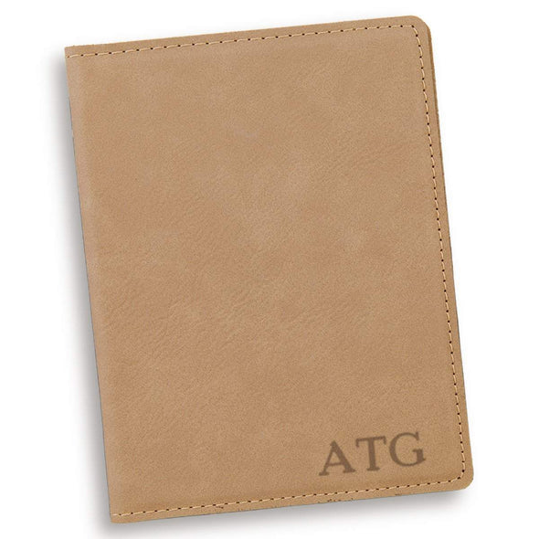 Personalized Light Brown Passport Holder - Gold - JDS