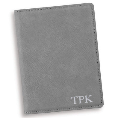 Personalized Gray Passport Holder - Silver - JDS