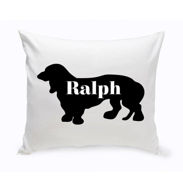 Personalized Dog Throw Pillow - Dog Silhouette - BassetHound1 - JDS