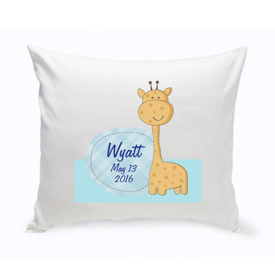 Personalized Baby Nursery Giraffe Throw Pillow - Boy - JDS