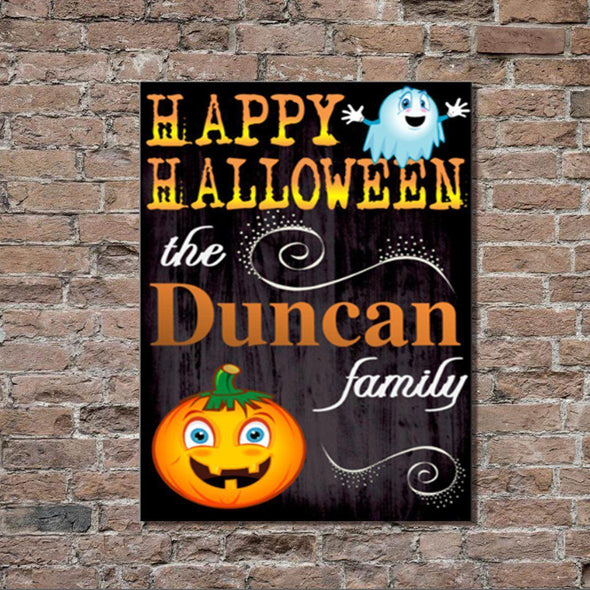 Personalized Halloween Stretched Canvas Wall Decor - HalPumpkin - JDS