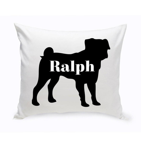 Personalized Dog Throw Pillow - Dog Silhouette - Pug - JDS