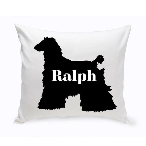 Personalized Dog Throw Pillow - Dog Silhouette - AfghanHound - JDS
