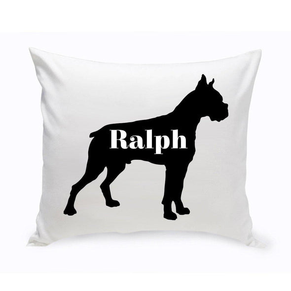 Personalized Dog Throw Pillow - Dog Silhouette - Boxer - JDS