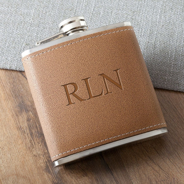 Personalized 6 oz. Leather Hide Flask - 3Initials - JDS