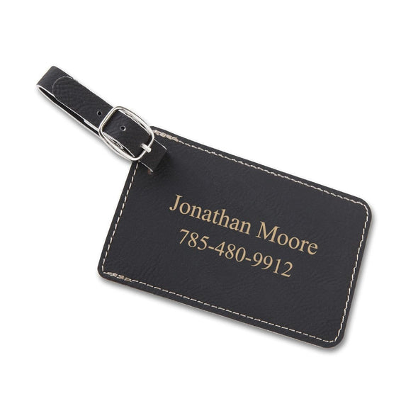 Personalized Vegan Leather Luggage Tags - Black - JDS