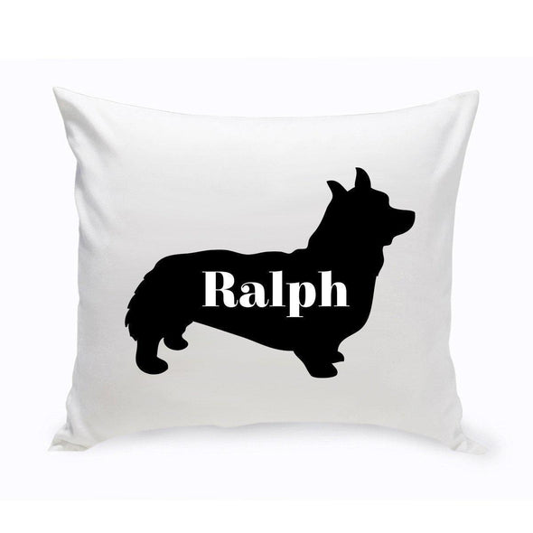 Personalized Dog Throw Pillow - Dog Silhouette - Corgie - JDS