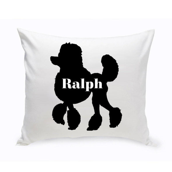 Personalized Dog Throw Pillow - Dog Silhouette - MiniPoodle - JDS