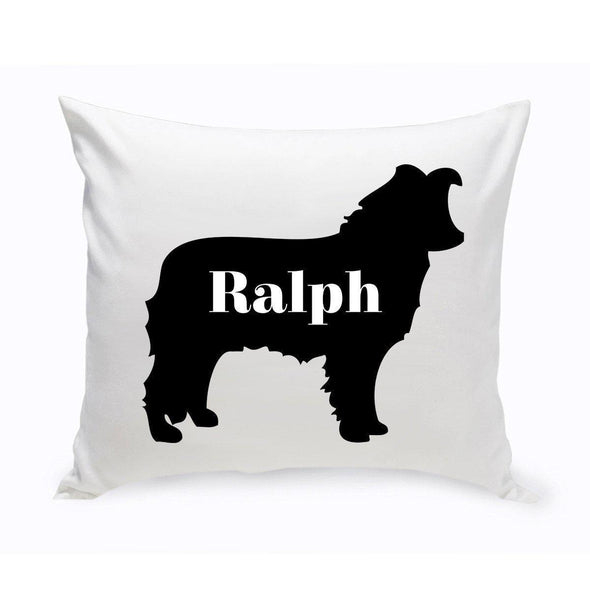 Personalized Dog Throw Pillow - Dog Silhouette - BorderCollie - JDS