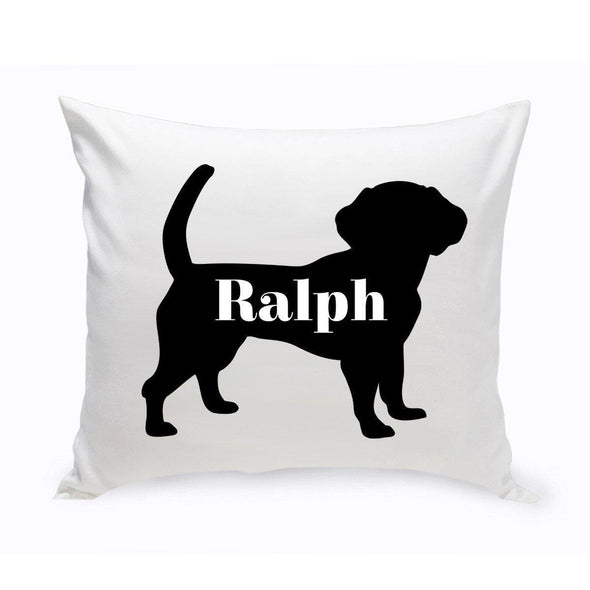Personalized Dog Throw Pillow - Dog Silhouette - Beagle - JDS