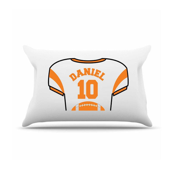 Personalized Kids Jersey Pillow Case - Orange - JDS
