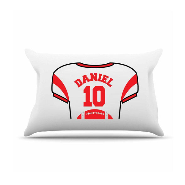 Personalized Kids Jersey Pillow Case - Red - JDS