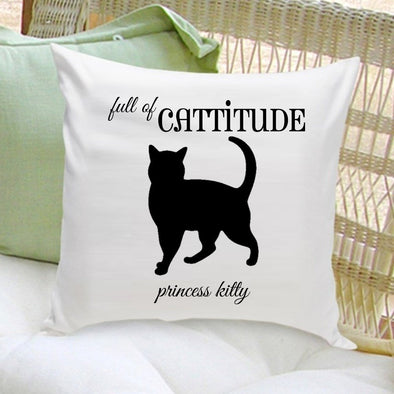 Personalized Throw Pillow - Cat Silhouette - Gifts for Cat Lovers -  - JDS