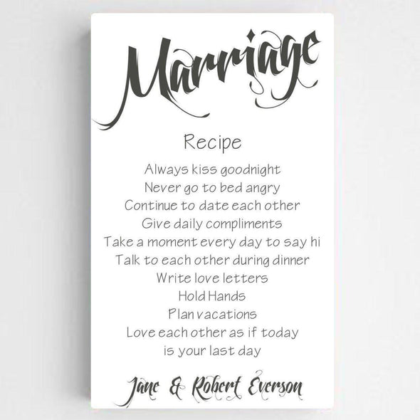 Personalized Marriage Recipe Canvas Print - SolidWhite - JDS