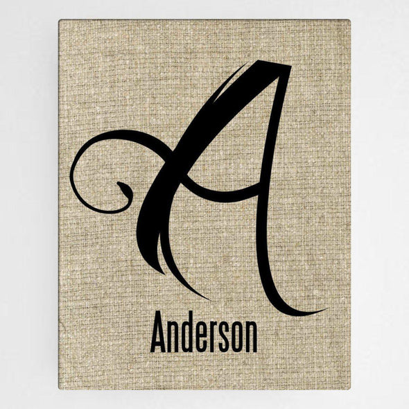 Personalized Family Initial Canvas Sign - Antique - JDS