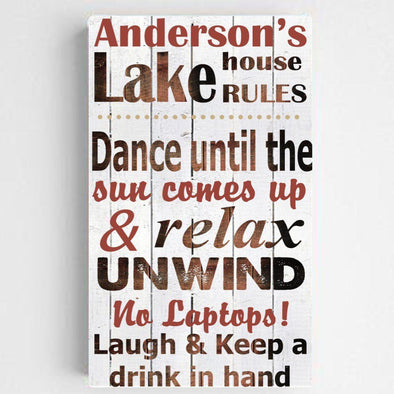 Personalized Lake House Rules Canvas Sign - Red - JDS