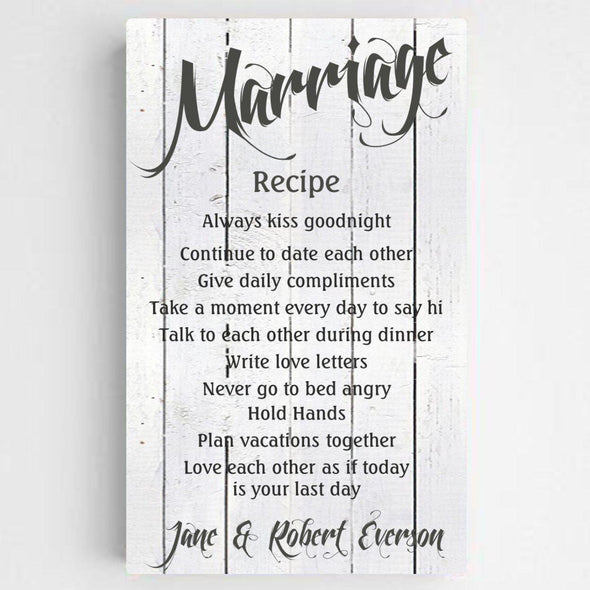 Personalized Marriage Recipe Canvas Print - WhiteWood - JDS