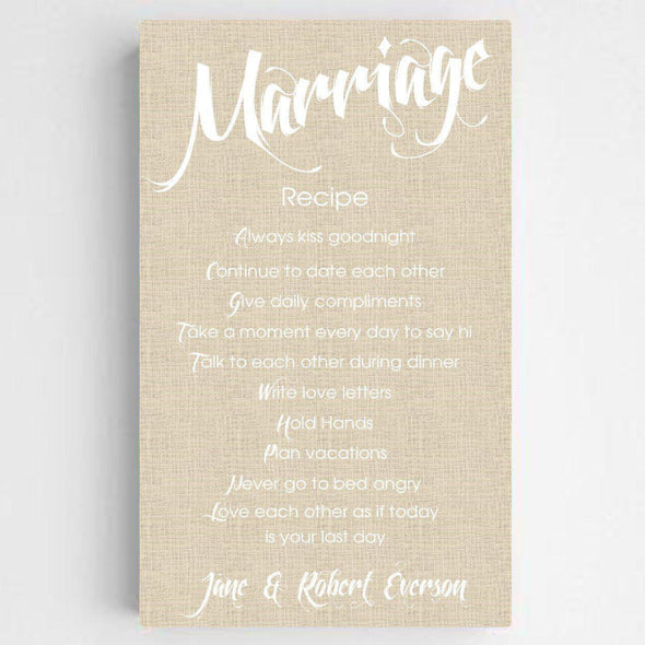 Personalized Marriage Recipe Canvas Print - ChicLinenFinish - JDS