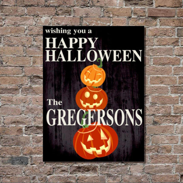 Personalized Halloween Stretched Canvas Wall Decor - BlkPumpkin - JDS