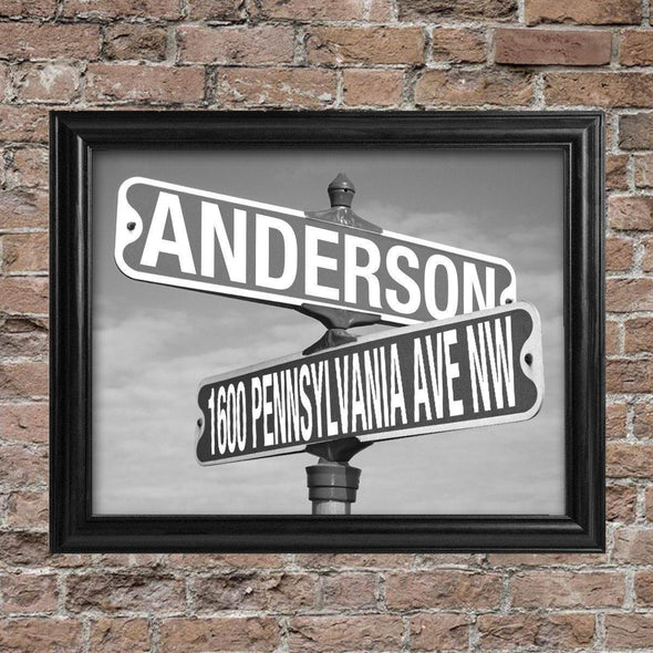 Personalized Black & White Street Sign - Framed -  - JDS