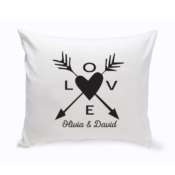 Personalized Love Arrow Throw Pillow - Black - JDS