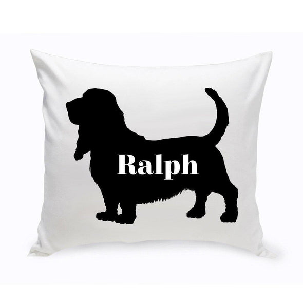 Personalized Dog Throw Pillow - Dog Silhouette - BassetHound2 - JDS