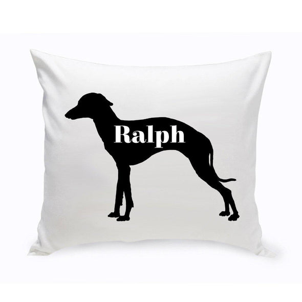 Personalized Dog Throw Pillow - Dog Silhouette - GreyHound - JDS