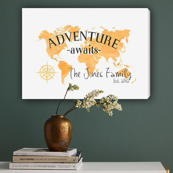 Personalized Adventure Awaits Canvas Map Wall Art - Orange - JDS