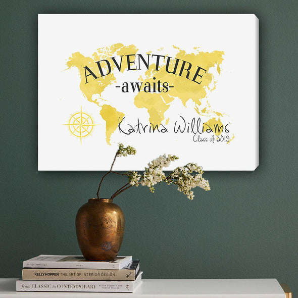 Personalized Adventure Awaits Canvas Map Wall Art - Yellow - JDS