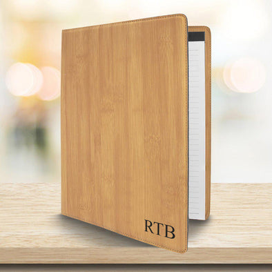 Personalized Portfolio with Notepad - Bamboo Padfolio -  - JDS