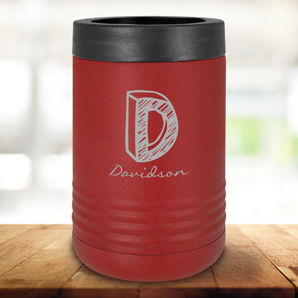 Personalized Maroon Can Cooler - Kate - JDS