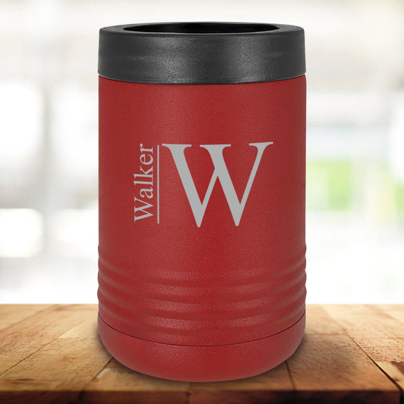 Personalized Maroon Can Cooler - Modern - JDS