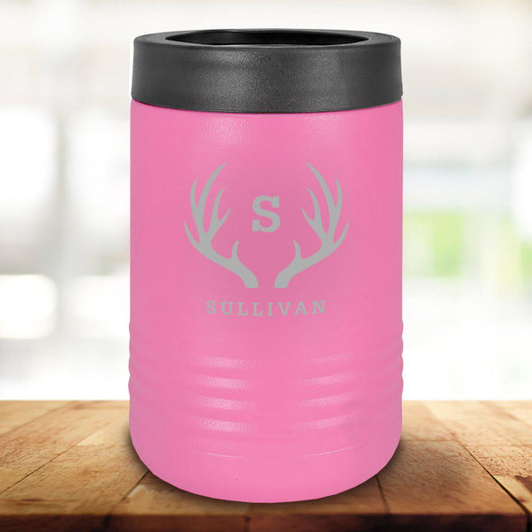 Personalized Pink Can Cooler - Antlers - JDS