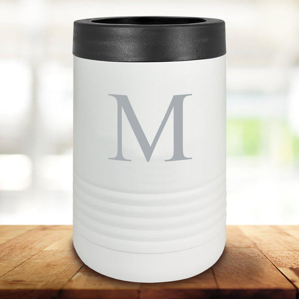 Personalized White Can Cooler - Single Initial - JDS