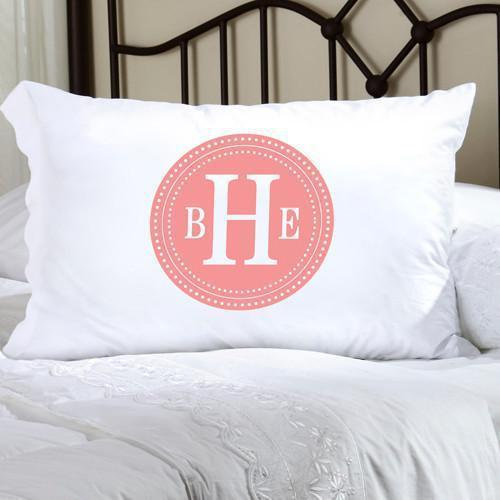 Personalized Felicity Chic Circles Pillow Case - CC2 Lt Pink & White - JDS
