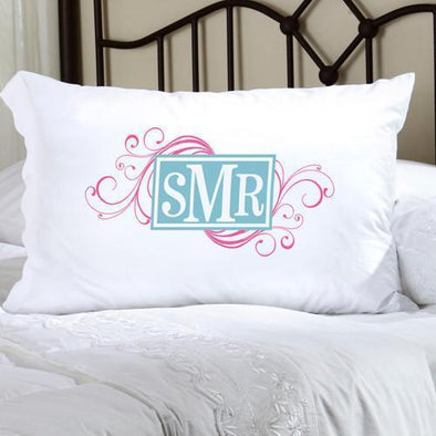Personalized Felicity Cheerful Monogram Pillow Case - CM1 Pink & Aqua - JDS