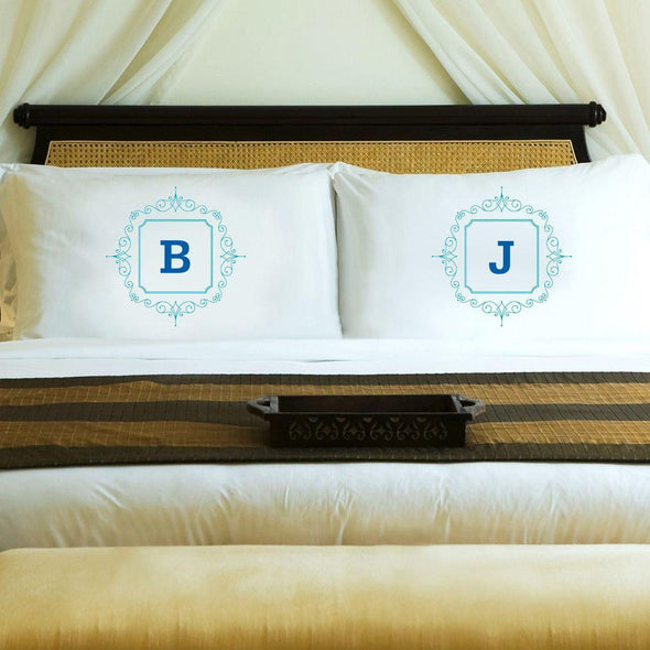 Personalized Initial Motif Couples' Pillow Cases - Blue - JDS