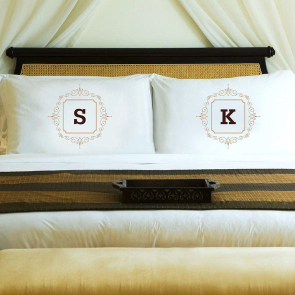 Personalized Initial Motif Couples' Pillow Cases - Brown - JDS