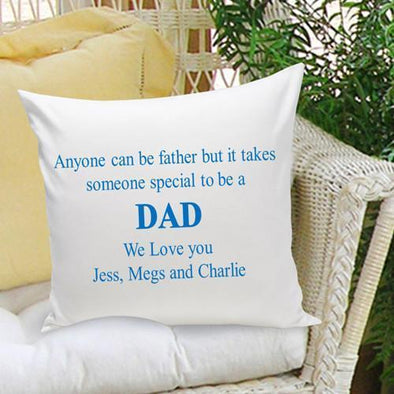 Personalized Parent Throw Pillow- Anyone Can Be A Father - Blue - JDS