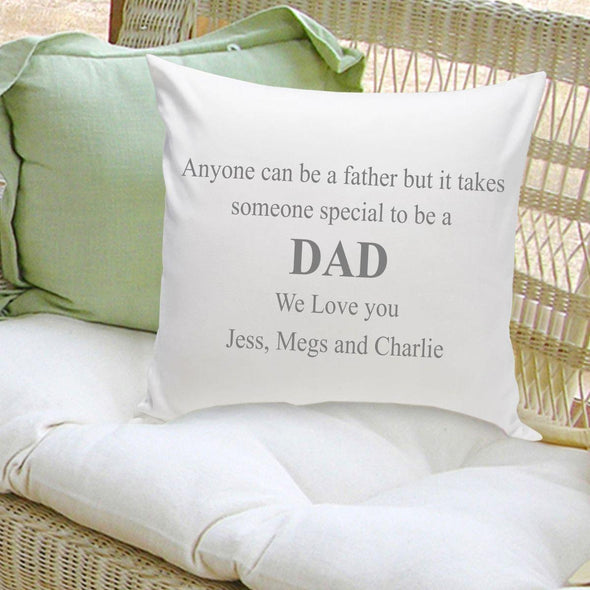 Personalized Parent Throw Pillow- Anyone Can Be A Father - Gray - JDS