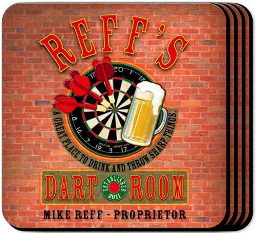 Personalized Coaster Set - Darts - JDS