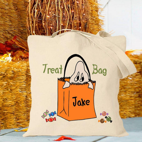Personalized Trick or Treat Bags - Halloween Treat Bags - Gifts for Kids - Ghost - JDS