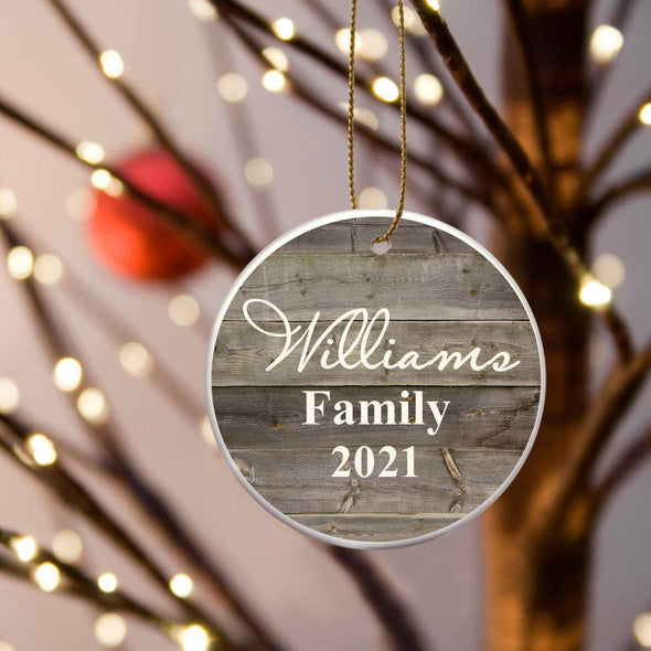 Personalized Family Name Ceramic Ornament - Grey - JDS