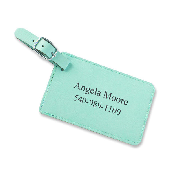 Personalized Vegan Leather Luggage Tags - Mint - JDS