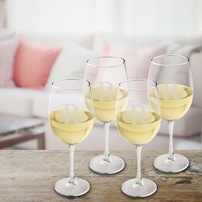 Personalized Set of 4  Wine Glasses - White Wine - Initial - JDS