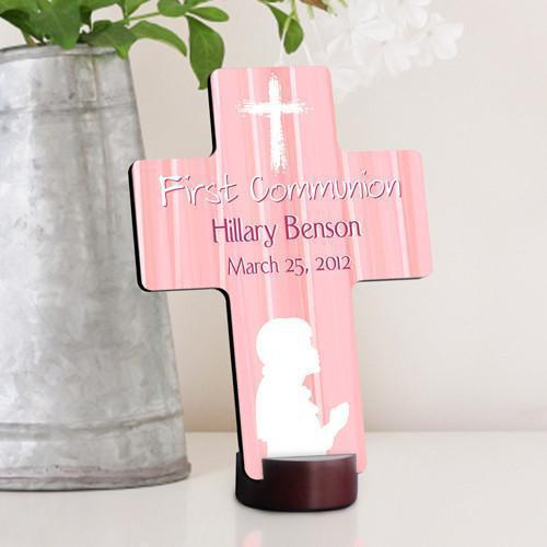 Personalized First Communion Cross for boys and girls - Pink - JDS
