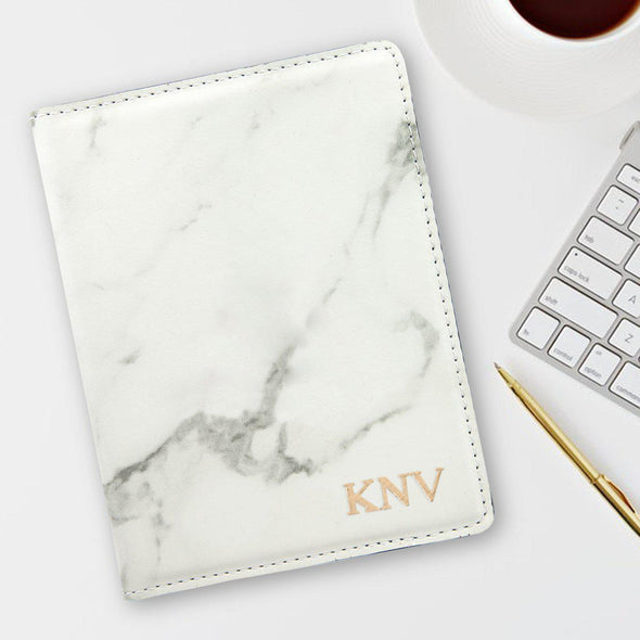 Monogram Marble Passport Holder - Stamped Foil - Gold - JDS