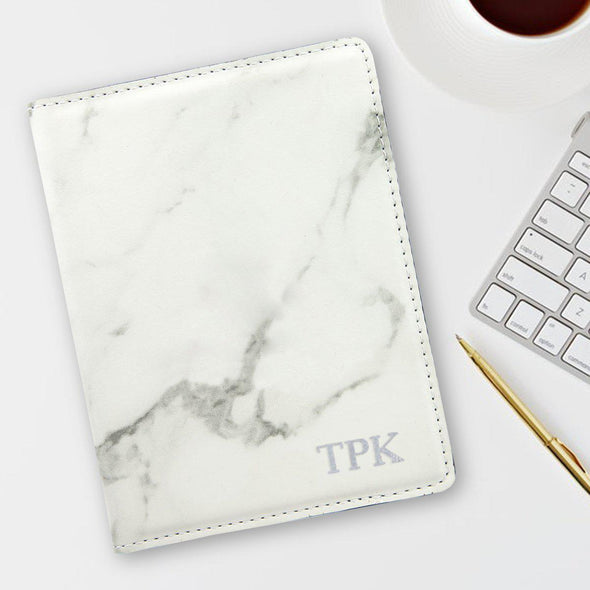 Monogram Marble Passport Holder - Stamped Foil - Silver - JDS